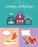 Set of cute greeting card for Saint Nicholas Sinterklaas day w. Ith shoe, carrot, gift box, traditional houses and text block Stock Photos