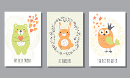 Set of cute greeting cards. Stock Images