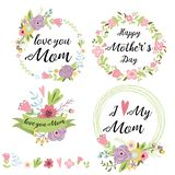 Set of cute greeting design elements for Mother`s Day floral wreath flowers hearts banners ribbon lettering. Vector. Set of cute greeting design elements for vector illustration
