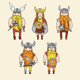 Set of cute grumpy vikings Royalty Free Stock Images