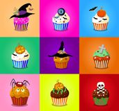 Set of cute halloween cupcake icons on multicolor background.. Set of cute halloween cupcake icons on multicolor background. Vector illustration, clip art Royalty Free Stock Image