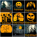 Set of cute Halloween illustrations Stock Images