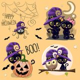 Set of Cute Halloween illustrations. With owl, black cat and spider Royalty Free Stock Images