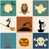 Set of cute Halloween illustrations Stock Photo