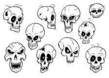 Set of Cute Hand Drawing Halloween Skull Illustrations. Set of cute hand drawing illustration of halloween human skull designs Royalty Free Stock Images