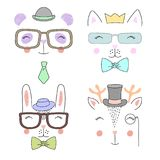 Set of cute hand drawn animal faces Stock Images