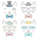 Set of cute hand drawn animal faces Stock Photo