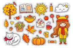 Set of cute hand drawn autumn elements. Stock Illustration