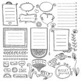 Set of cute hand drawn bullet journal's elements isolated on white background. Collection of doodle frames. Bullet journal hand drawn vector elements for Royalty Free Illustration