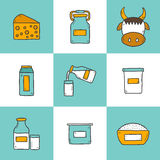 Set of cute hand drawn cartoon icons with products Royalty Free Stock Photos