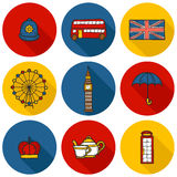 Set of cute hand drawn cartoon objects on London Royalty Free Stock Images