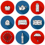 Set of cute hand drawn cartoon objects on London Stock Photo