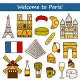 Set of cute hand drawn cartoon objects on Paris Stock Image