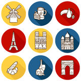 Set of cute hand drawn cartoon objects on Paris Stock Images