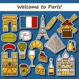 Set of cute hand drawn cartoon stickers on Paris Royalty Free Stock Photos