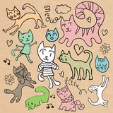 Set of cute hand drawn cats Stock Photo