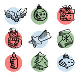 Set of cute hand drawn christmas icons, s Stock Images