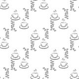 Set of cute hand drawn coffee cup, seamless pattern Royalty Free Stock Photography