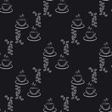 Set of cute hand drawn coffee cup, seamless pattern 2 Stock Photos