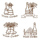 Set of cute hand drawn colorful badges on Cuba Royalty Free Stock Image