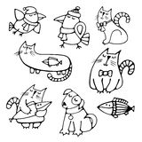 Set of cute hand-drawn contour animals pets. Set of cute pretty hand-drawn pets volume simple contour dreaming cats with fish, dog and crows Easy circuit for Royalty Free Stock Images