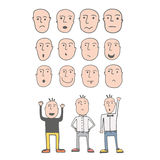 Set of cute hand drawn emotional faces. Made in vector Royalty Free Stock Photo
