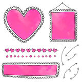 Set of cute hand drawn frames and heart dividers Royalty Free Stock Image