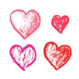 Set of cute hand drawn grunge pink hearts. Doodle scratched hearts for wedding invitation design, lovely Valentine`s Day cards Royalty Free Stock Images
