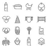 Set of cute hand drawn icons on baby theme Stock Photography