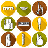 Set of cute hand drawn objects on manicure Royalty Free Stock Photo
