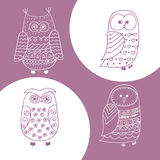 Set of cute hand drawn owls. Stock Photography