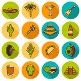 Set of cute hand drawn shadow icons on Mexico Royalty Free Stock Photo