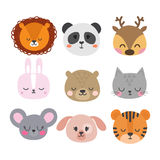 Set of cute hand drawn smiling animals. Cat, bunny, lion, panda, tiger, dog, deer, mouse and bear. Cartoon zoo Royalty Free Stock Image