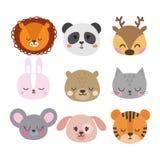 Set of cute hand drawn smiling animals. Cat, bunny, lion, panda, tiger, dog, deer, mouse and bear. Cartoon zoo Royalty Free Stock Image