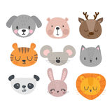 Set of cute hand drawn smiling animals. Cat, deer, panda, tiger, dog, lion, bunny, mouse and bear. Cartoon zoo Royalty Free Stock Image