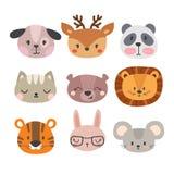 Set of cute hand drawn smiling animals. Cat, lion, panda, dog, tiger, deer, bunny, mouse and bear. Cartoon zoo Stock Photos