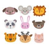 Set of cute hand drawn smiling animals. Cat, panda, tiger, dog, deer, lion, bunny, mouse and bear. Cartoon zoo Royalty Free Stock Photos