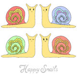 Set of cute hand drawn snails Stock Photos