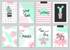 Set of cute hand drawn summer cards, background. Holiday, travel, vacation theme. Wallpaper,flyers, invitation, posters,templates,. Set of cute hand drawn summer Stock Image