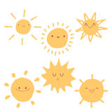 Set of cute hand-drawn sun icons. Royalty Free Stock Photography