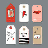 Set of cute hand drawn Valentines day cards, gift tags,  s Royalty Free Stock Photo