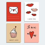 Set of cute hand drawn Valentines day cards,  s Royalty Free Stock Image