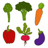 Set of cute hand drawn vegetables Stock Photography