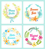 Set of cute hand drawn vintage floral rustic wreathes for your decoration. Set of cute hand drawn vintage floral rustic wreathes ideal as birthday cards, thank Stock Image