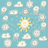 Set of cute hand drawn weather icons Stock Photography