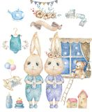 Set cute happy birthday card with cartoon two Bunny. Watercolor rabbits clip art cradle and toys for baby, cot, bear, ribbon for royalty free stock images