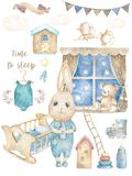 Set cute happy birthday design card with cartoon two Bunny. Watercolor rabbits kid clip art cradle and toys for baby, child, boy royalty free illustration