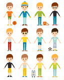 Set cute happy cartoon boys characters childhood young active lifestyle vector illustration Royalty Free Stock Photography