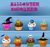 Set of cute happy halloween cupcakes on blue background. Vector Royalty Free Stock Photos