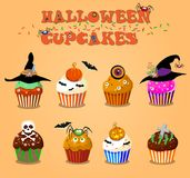 Set of cute happy halloween cupcakes on orange background.. Set of cute happy halloween cupcakes on orange background. Vector illustration, clip art Royalty Free Stock Images